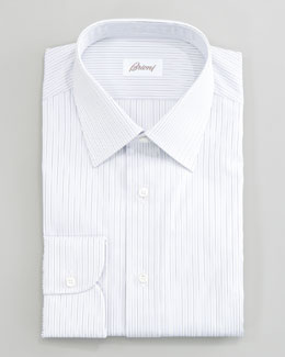 Brioni Striped Dress Shirt, Gray