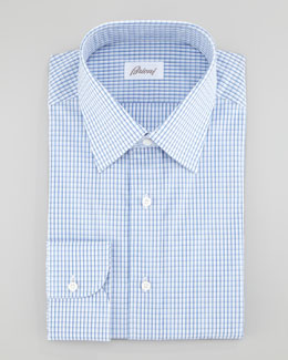 Brioni Check Dress Shirt, Blue