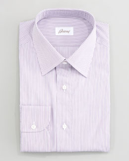 Brioni Thin-Striped Dress Shirt, Berry