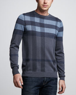 Burberry London Check Crewneck Sweater, Pale Indigo