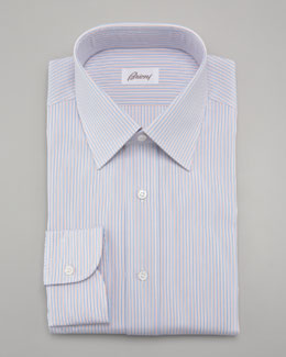 Brioni Striped Dress Shirt, Blue/Orange