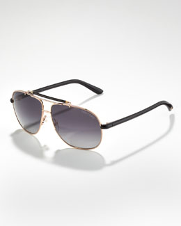 Tom Ford Adrian Polarized Aviator Sunglasses, Rose Golden