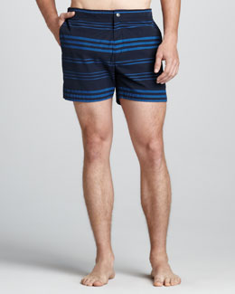 Theory Kosmor Striped Swim Trunks, Navy