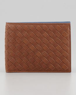 Bottega Veneta Woven Bi-Fold Wallet, Blue/Brown