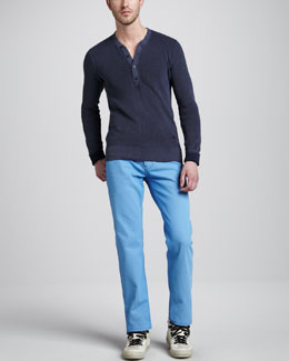Burberry Brit Slim Five-Pocket Pants, Light Cornflower Blue