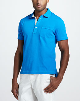 Billy Reid Pensacola Jersey Polo, Swedish Blue