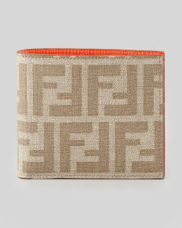Fendi Zucca Coated Canvas Bi-Fold Wallet, Beige/Orange