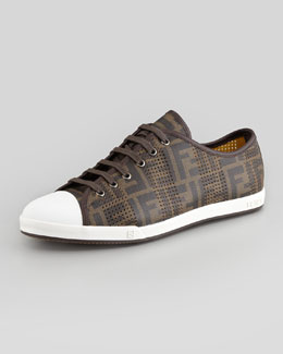 Fendi Ace Perforated Low-Top Zucca Sneaker