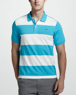 Lacoste Stripe-Front Jersey Polo, Blue/White