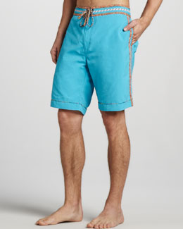 Robert Graham Queequeg Boardshorts, Teal