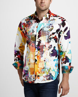 Robert Graham Gerard Paint-Print Sport Shirt