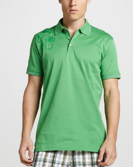 Robert Graham Laguna Paisley-Shoulder Polo, Kelly Green