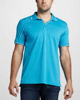 Robert Graham Laguna Paisley-Shoulder Polo, Turquoise