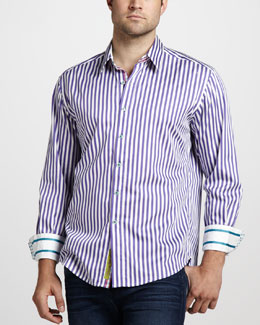 Robert Graham Lanai Striped Sport Shirt, Purple