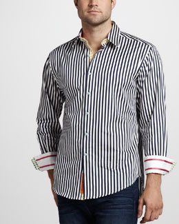 Robert Graham Lanai Striped Sport Shirt, Navy