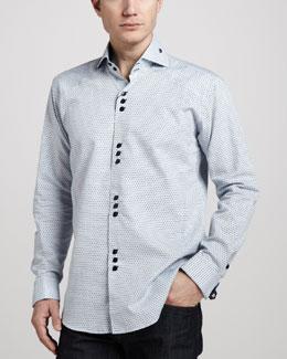Bogosse Matis Dot-Jacquard Shirt, Navy