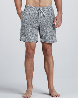Onia Charles Liberty Art Paisley-Print Swim Trunks, Navy