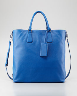 Prada Saffiano Large North-South Tote, Cobalt