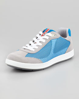 Prada Suede and Mesh Sneaker, Gray/Blue