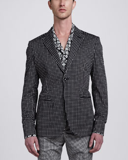 Alexander McQueen Tile-Print Cotton Sport Coat
