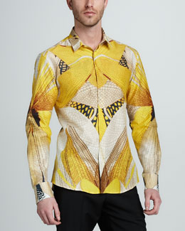 Alexander McQueen Dragonfly-Print Cotton-Silk Shirt