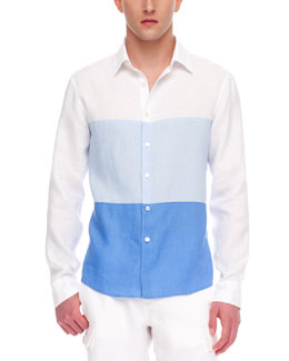 MICHAEL KORS Colorblock Linen Shirt