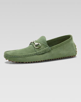 Gucci Damo Suede Horsebit Driver, Light Green