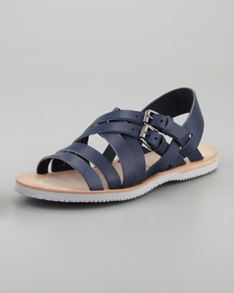 Alexander McQueen Leather Multi-Strap Sandal, Navy
