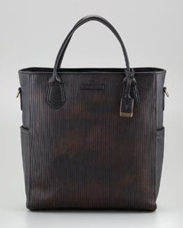 Frye James Cut Leather Tote Bag, Dark Brown