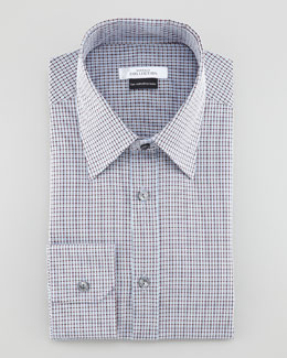 Versace Check Sport Shirt, Light Blue/Brown