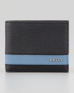 Bally Letrill Blue-Stripe Logo Wallet, Black