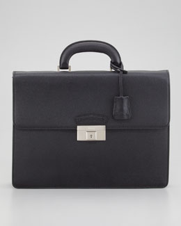 Bally Sapeis Leather Briefcase, Black