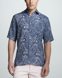 Peter Millar Bandana Paisley-Print Short-Sleeve Sport Shirt