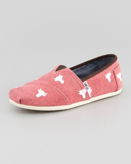 TOMS Bull Embroidered Canvas Slip-On