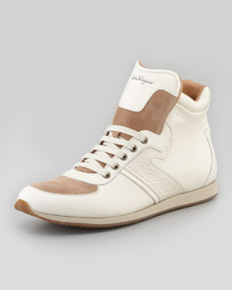 Salvatore Ferragamo Stanley High-Top Sneaker, Cream