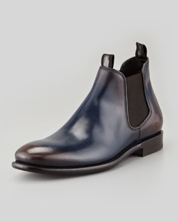 Salvatore Ferragamo Santo Chelsea Boot, Blue/Brown