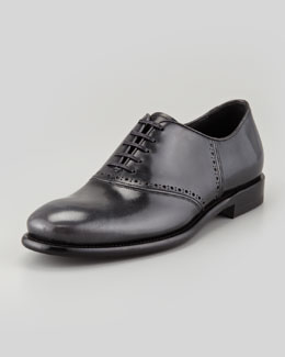 Salvatore Ferragamo Serafino Shiny Leather Lace-Up Oxford, Gray/Black