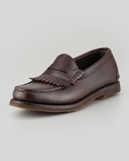 Salvatore Ferragamo Sparta II Pebbled Kiltie Loafer, Brown