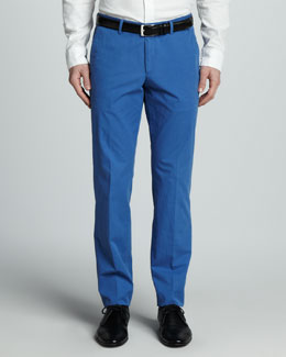 Hugo Boss Washed Cotton Trousers, Bright Blue