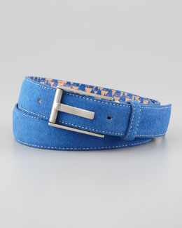 Robert Graham Riverside Suede Belt, Blue