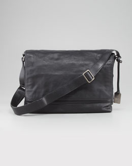 Frye James Leather Messenger Bag, Black