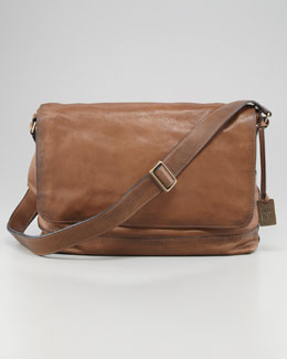 Frye James Leather Messenger Bag, Taupe