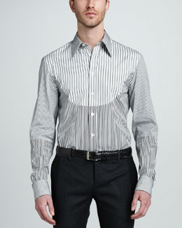Alexander McQueen Mixed-Stripe Dress Shirt
