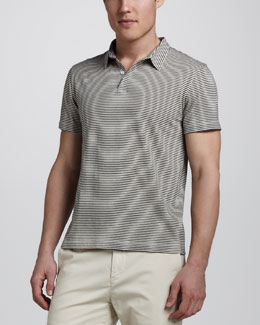 Theory Bron Striped Polo, Blue