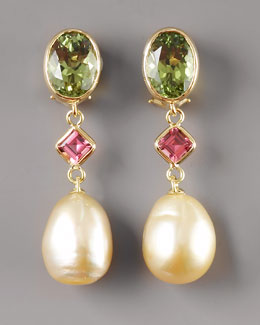 Assael Golden Pearl Tourmaline Earrings