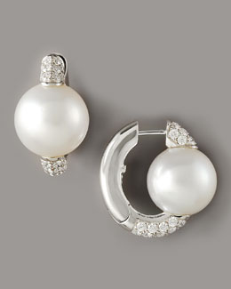 Assael Pearl & Diamond Huggie Earrings