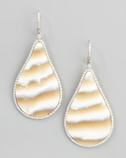 Kimberly McDonald Pave Diamond Striped Chalcedony Drop Earrings