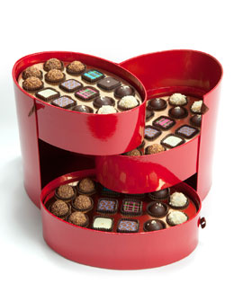 Julia Baker Confections 48-Piece Red Hatbox Chocolate Assortment
