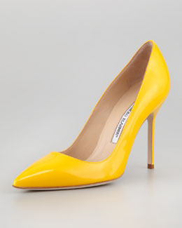 Manolo Blahnik BB Patent Pointed-Toe Pump, Yellow