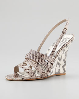 Manolo Blahnik Sognomod Snake & Canvas Wedge Sandal